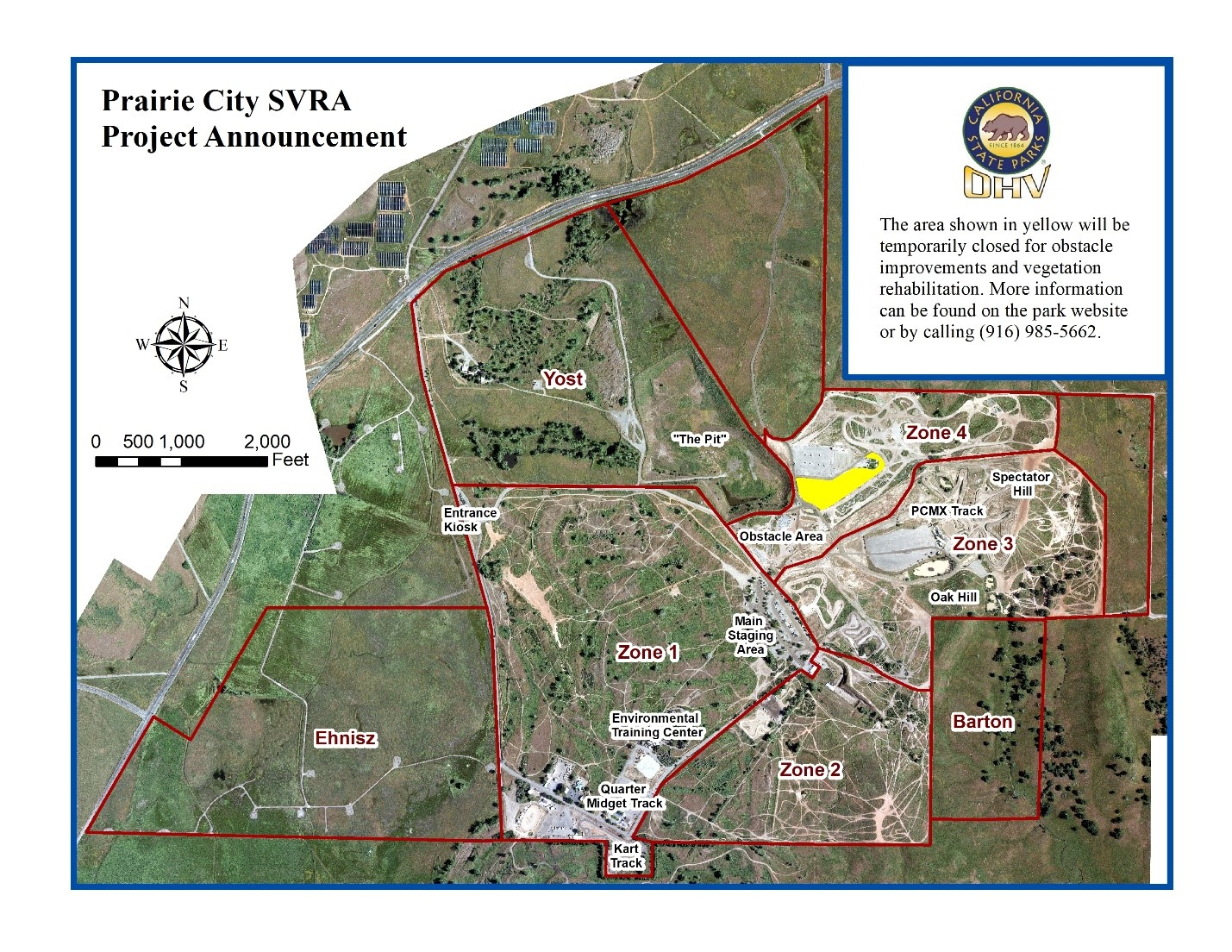 Prairie City SVRA re-vegetation project announcement - 4x4 Area temporary closure