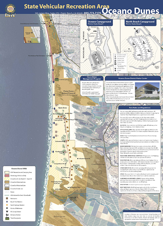 Map of the SVRA California State Beaches Map on