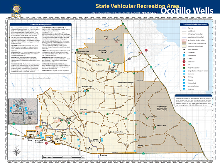 Ocotillo Wells SVRA map showing highways, local streets, Off-highway vehicle trails, Anza National Historic Trail, No Camping, Alcohol, or fires area, travel on trails only area, distributed riding (open) area, Points of interest, landmarks, Amphitheatre, call box, fire station, fuel, interpretice displays, Ranger Station, Discovery Center, Restrooms, RV dump, showers, training track, Accessible Feature, Picnic Areas. The park is north of highway 78 and west of highway 86. Points of interest include Badlands, 4x4 training area, Gas Domes, Artesian Well, Clay flats, C hill, Hidden Valley Camp, Old Commune area, Shell Reef, Devil's Slide, The Cove, Blowsand Hill, Pumpkin Patch, and Main Street Event Center.